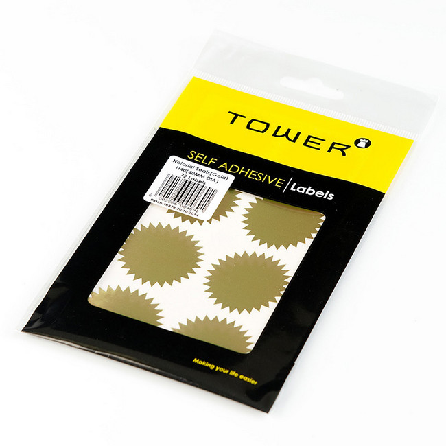 Notarial Seal - 40mm dia. - Gold - 1 Pack | Tower | N40GO ...