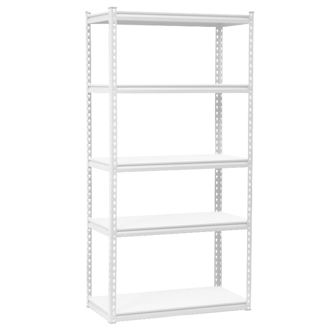 Picture of Steel Shelving - 5 Tier - Heavy Duty - Boltless - Metal Frame and MDF Shelves - White - ADIY3903