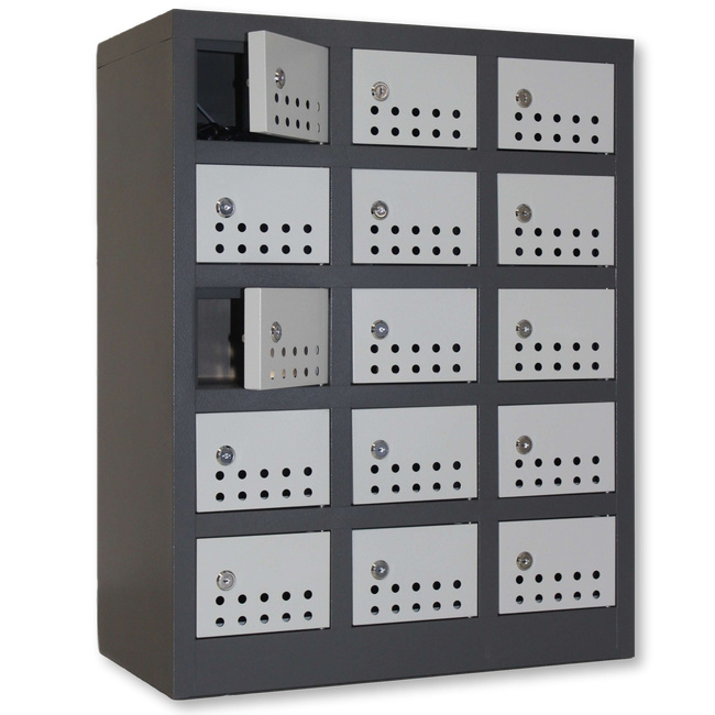 Picture of Steel Cell phone Locker - Metal - 15 Compartment - 73 x 30 x 57 cm [CELLOCK15-greyivory]