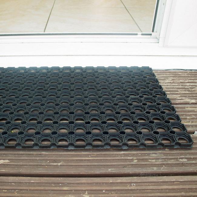 Picture of Heavy-Duty Doormat - Ringo Rubber Durable Mat - 60 x 40 x 1 cm - Black - RM010014