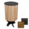 Picture of Litter Bin - Round Powder Coated Stainless Steel and Wood Wastebin - 760x400(Ø)mm - WDC2542