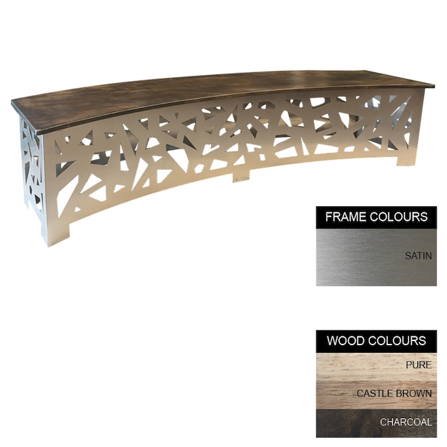 Picture of Abstract Bench - Stainless Steel 430 and Wood - Curved -  45x200x50cm - Colour Options - ABC4158S
