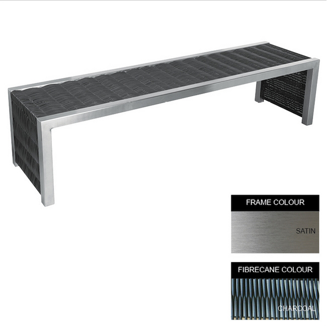 Picture of Contemporary Bench - Stainless Steel 304 and Fibre Cane - Adj. Feet - 45x180x51cm - CM4241S-CHAR_C