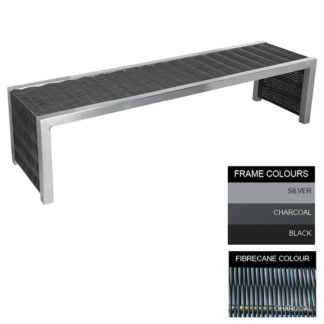 Picture of Contemporary Bench - Steel and Fibre Cane - Adj. Feet - 45x150x51cm - Colour Options - CM4631PC