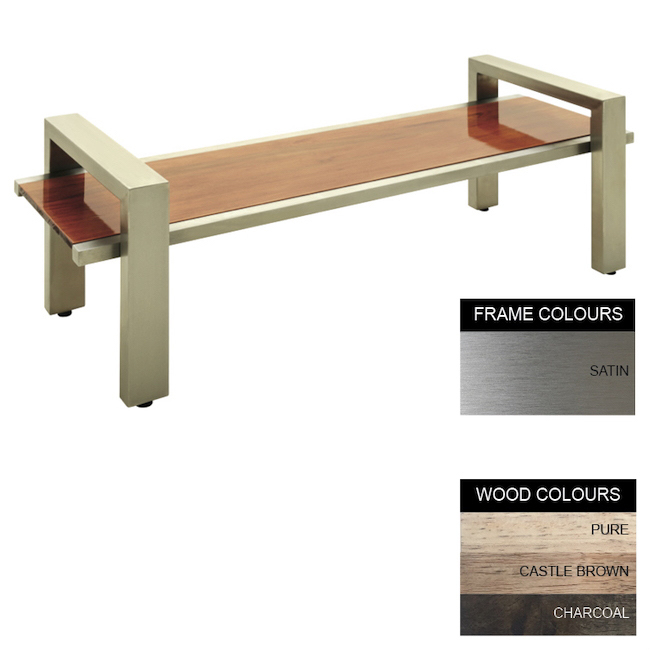 Picture of Modern Bench - Stainless Steel 304 and Wood - Adj. Feet - 45x240x49cm - Colour Options - MD4261S