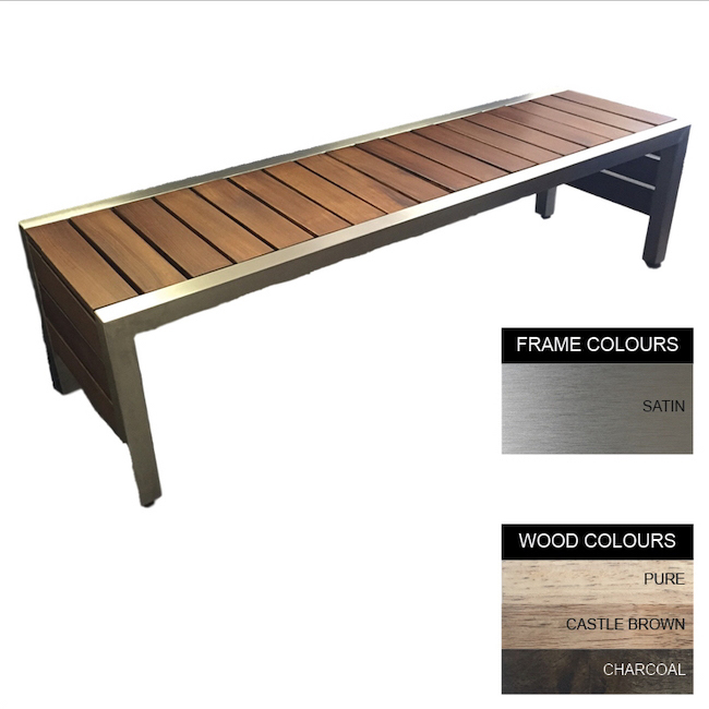 Picture of Mall Bench - Stainless Steel 304 and Wood - Bolt Down - 45x180x51cm - Colour Options [ML4242S]