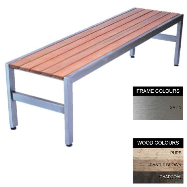 Picture of Slimline Bench - Stainless Steel 304 and Wood - Adj. Feet - 45x150x45cm - Colour Options - SL4231S