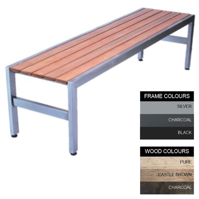 Picture of Slimline Bench - Steel and Wood - Bolt Down - 45x180x45cm - Colour Options - SL4642PC