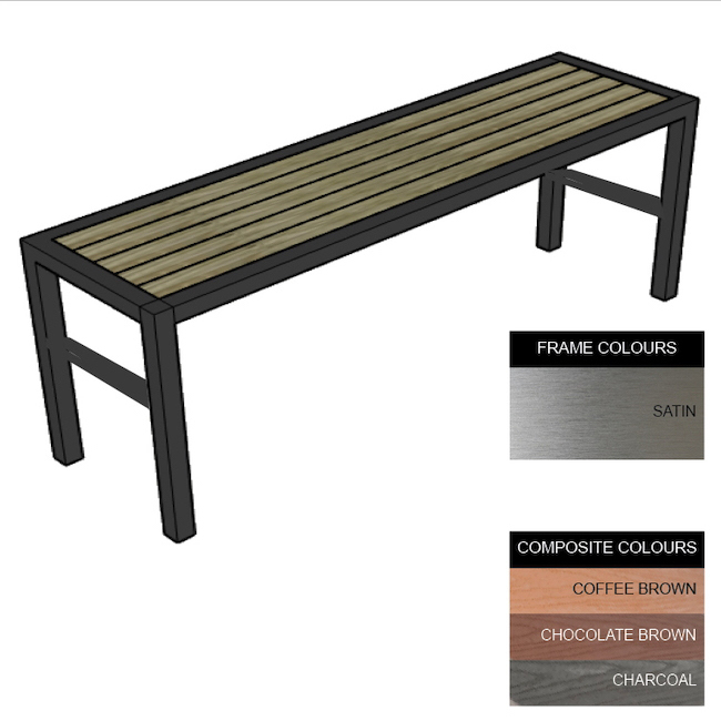 Picture of Slimline Bench - Stainless Steel 304 and Composite - Adj. Feet - 45x240x54cm - Colour Options - SLO4261S