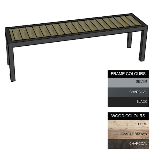 Picture of Facilities Bench - Steel and Wood - Bolt Down - 45x180x51cm - Colour Options - FL4642PC