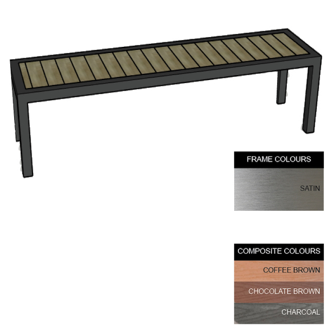 Picture of Facilities Bench - Stainless Steel 304 and Composite - Bolt Down - 45x240x51cm - Colour Options - FLO4262S