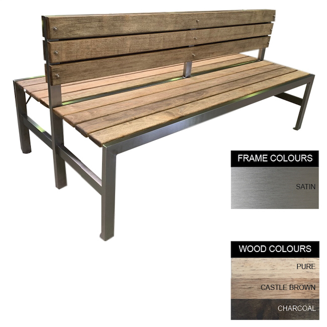 Picture of Slimline Bench - Stainless Steel 304 and Wood - Adj. Feet - 45x240x98cm - Colour Options - SLBD4261S