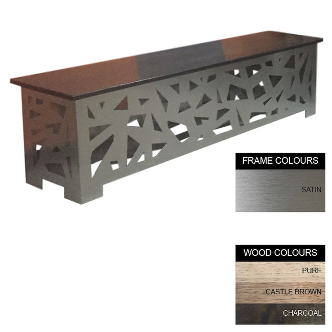 Picture of Abstract Bench - Stainless Steel 430 and Wood - Bolt Down - 45x160x40cm - Colour Options - AB4122S