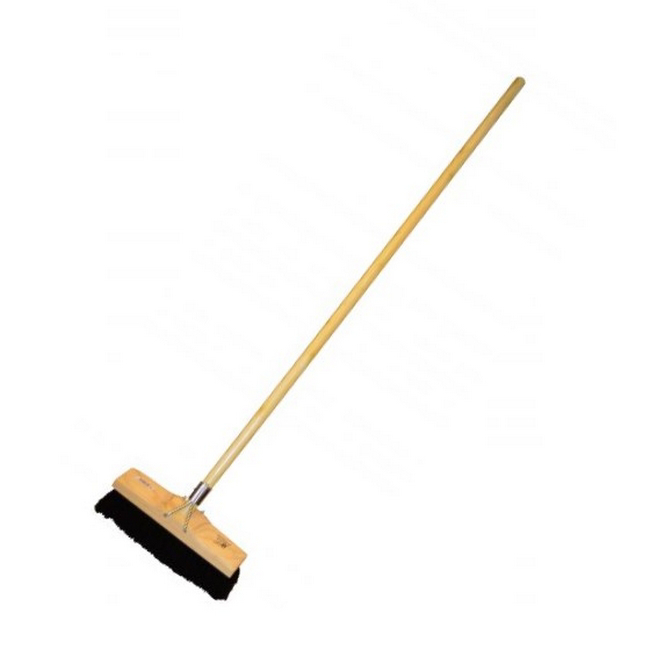 Picture of Floor Broom - Complete - Soft - Black PVC Fibre - Wooden Handle - 55 Grip - Pack of 5 - F3357
