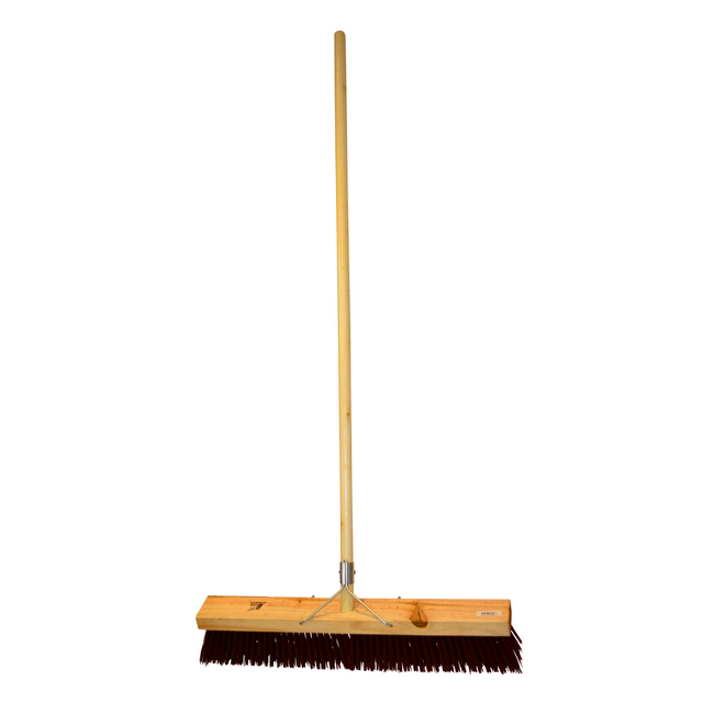Picture of Platform Broom - Complete - Brown Synthetic Fibre (0.75mm) - Wooden Handle - 88 Grip - 61cm - (3 Pack) - F3257