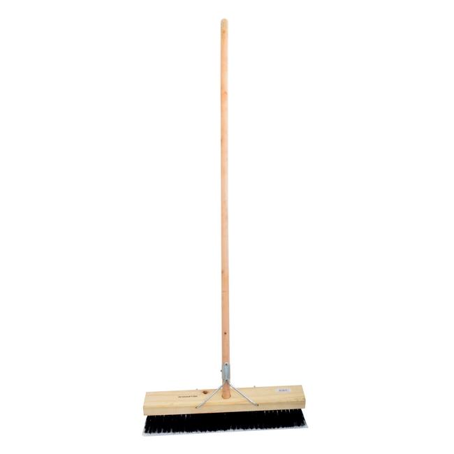 Picture of Platform Broom - Complete - Millennium - Black Synthetic Fibre - Wooden Handle - 88 Grip - 46cm - (3 Pack) - F3351