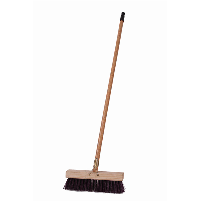 Picture of Gutter Sweeper Broom - Complete - Millennium Synthetic - Brown Polypropylene Fibre - Wooden Handle - 55 Grip - 30.5cm - (3 Pack) - F3261