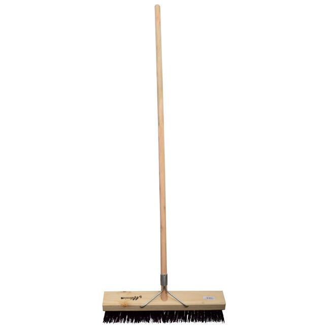 Picture of Platform Broom - Complete - Millennium Synthetic - Brown Polypropylene Fibre - Wooden Handle - 88 Grip - 46cm - Pack of 3 - F3350