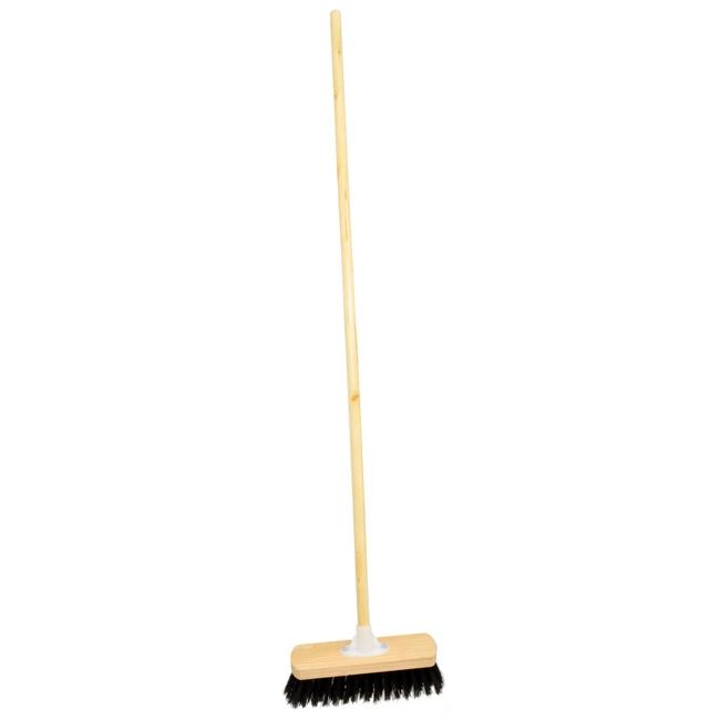Picture of Floor Broom - Complete - Rainbow Black Fibre Household - Wooden Screw-in Handle - (5 Pack) - F3568