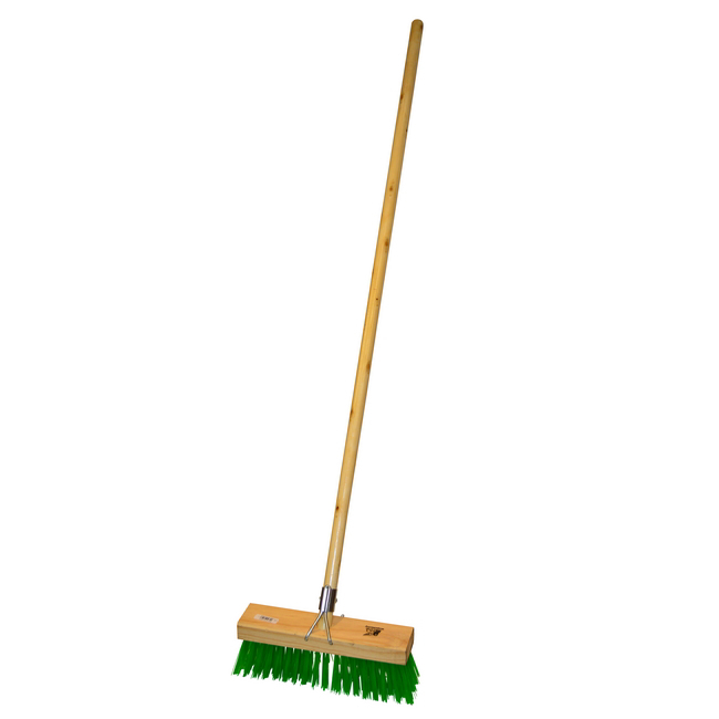 Picture of Gutter Sweeper Broom - Complete - Green Synthetic Fibre (0.75mm) - Wooden Handle - 55 Grip - 30.5cm - Pack of 3 - F3156