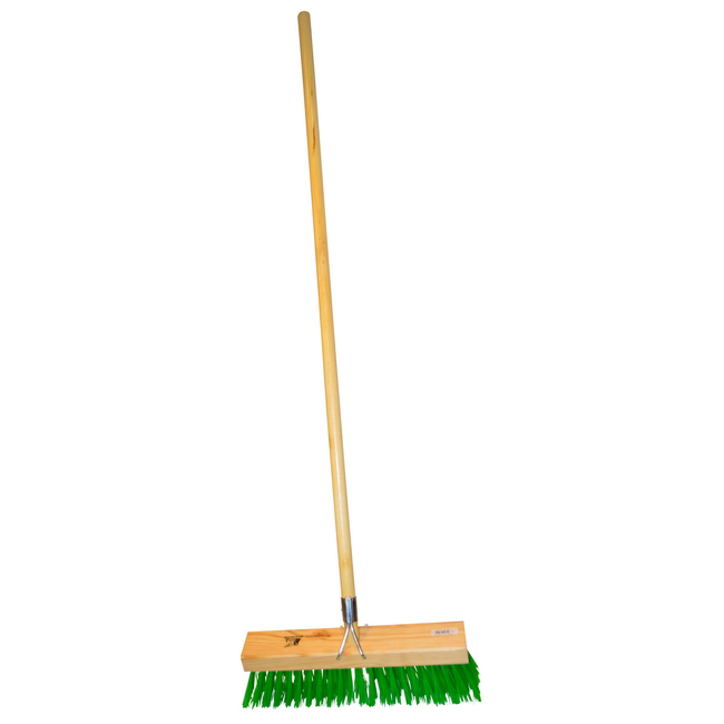 Picture of Gutter Sweeper Broom - Complete - Green Synthetic Fibre (0.75mm) - Wooden Handle - 55 Grip - 37.5cm - Pack of 3 - F3158