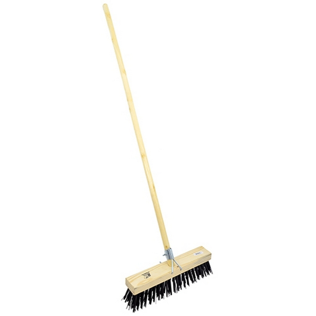 Picture of Gutter Sweeper Broom - Complete - Stiff Brown PVC Fibre (1.5mm) - Wooden Handle - 55 Grip - 30.5cm - Pack of 3 - F3157