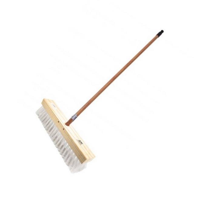 Picture of Gutter Sweeper Broom - Complete - White Polypropylene Fibre (2mm) - Wooden Handle - 55 Grip - 37.5cm - (3 Pack) - F3160