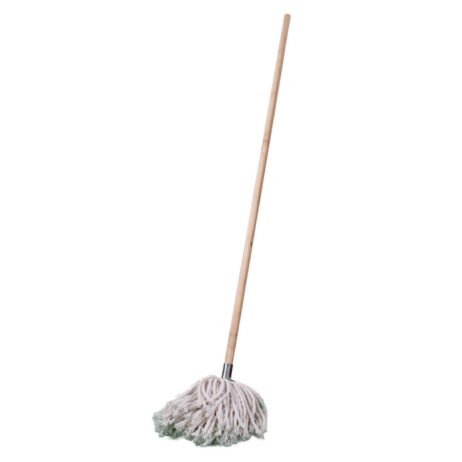 Picture of Mop - Complete - W4 Head with Metal Socket - Wooden Handle - 365g - Pack of 5 - F18661