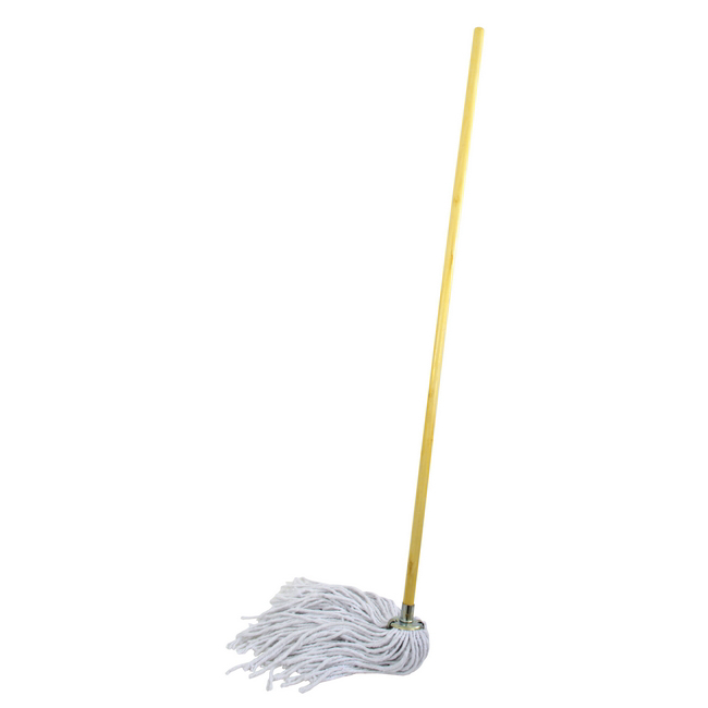 Picture of Mop - Complete - Long-hair Head with Metal Socket - Wooden Handle - 335g - Pack of 5 - F17590