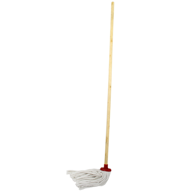 Picture of Budget Mop - Complete - Head with Plastic Socket - Wooden Handle - (5 Pack) - F8679