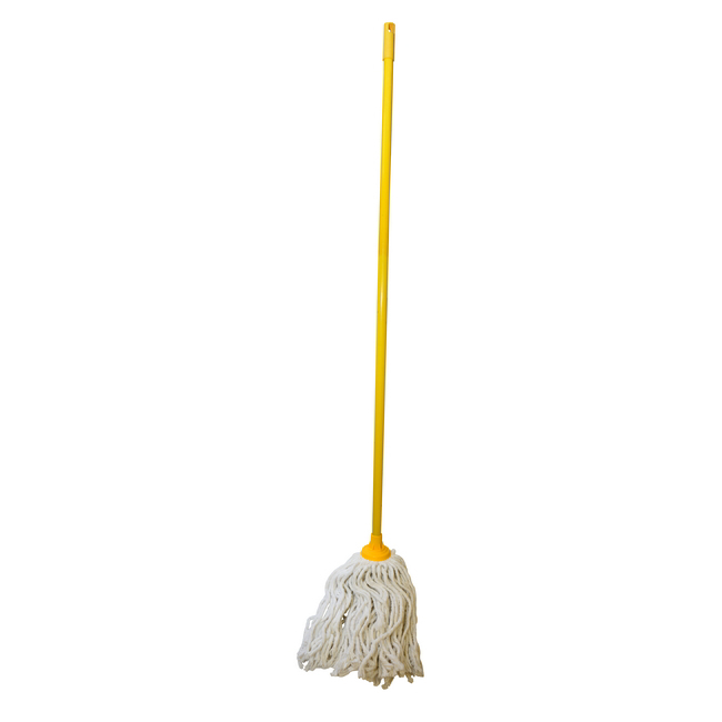 Picture of Mop - Complete - W5 Head with with Plastic Socket - Metal Handle - Yellow - 445g - (5 Pack) - F8762