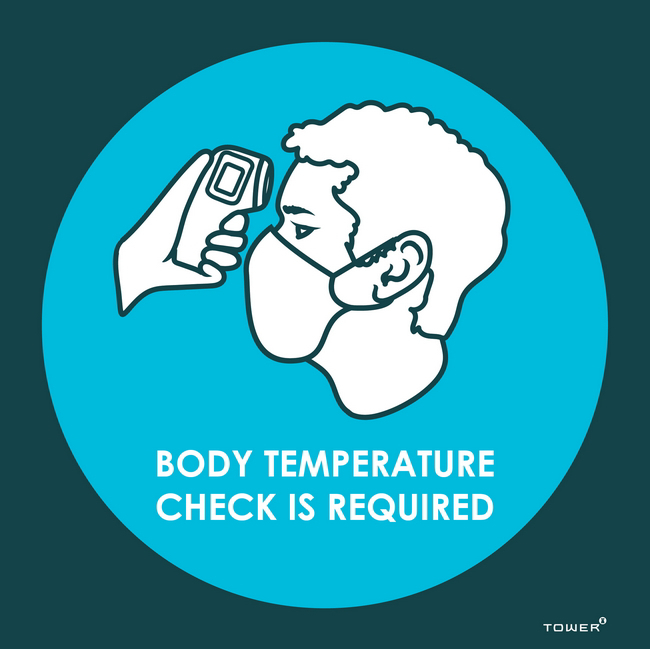 Picture of ABS Signage - Hygiene - Body Temperature Check is Required - 190 x 190mm - SIGNBTC190