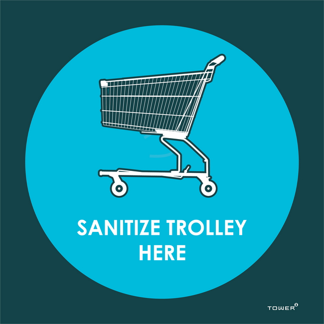 Picture of ABS Signage - Hygiene - Sanitize Trolley Here - 190 x 190mm - SIGNSTH190