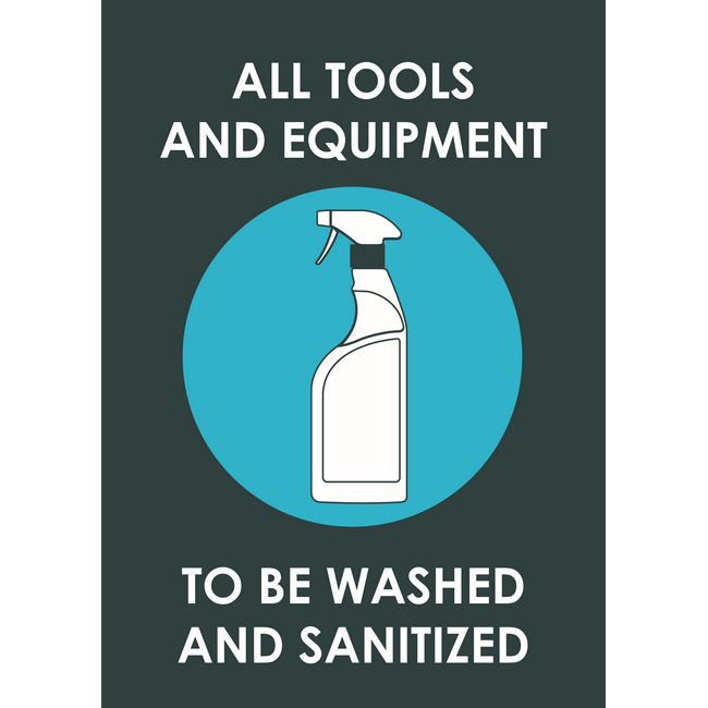 Picture of ABS Signage - Hygiene - All Tools And Equipment To Be Washed And Sanitized - 210 x 297mm - SIGNTES