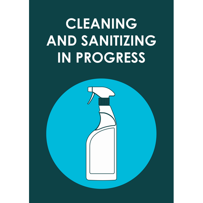 Picture of ABS Signage - Hygiene - Cleaning And Sanitizing In Progress - 210 x 297mm - SIGNCIP