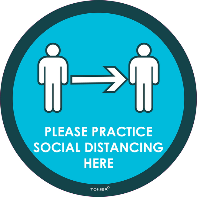 Picture of Decal Signage - Hygiene - Please Practice Social Distancing Here - 190mm Ø - (5 Pack) - SIGNPSD