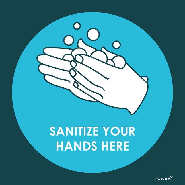 Picture of ABS Signage - Hygiene - Sanitize Your Hands Here - 190 x 190mm - SIGNSHH190