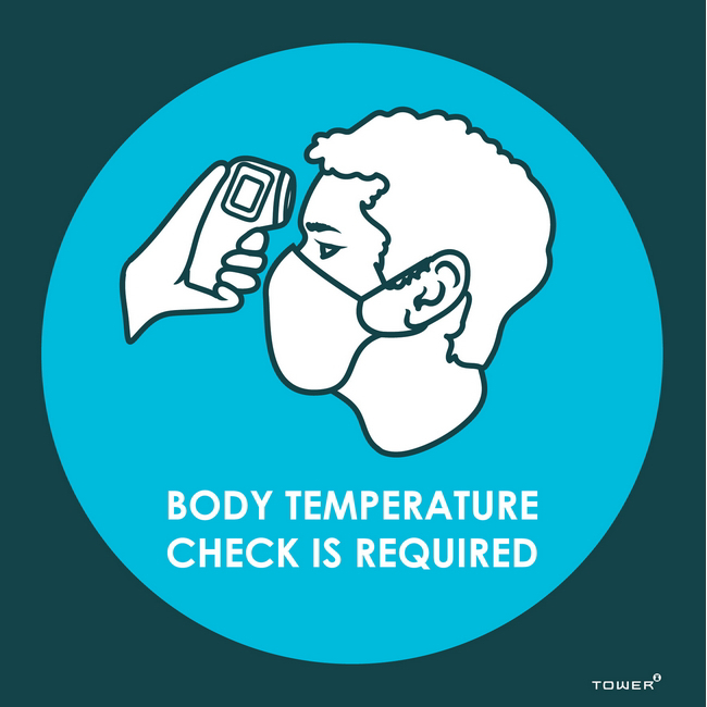 Picture of ABS Signage - Hygiene - Body Temperature Check is Required - 150 x 150mm - SIGNBTC