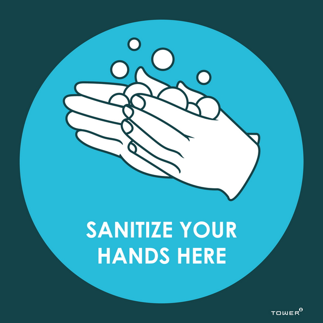 Picture of ABS Signage - Hygiene - Sanitize Your Hands Here - 150 x 150mm - SIGNSHH