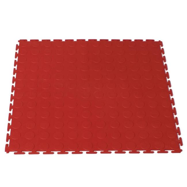 Picture of Interlocking PVC Floor Tiles - Raised Medallion - 50 x 50 x 0.4 cm - Red - (MOQ 200) - 5300CEA-red