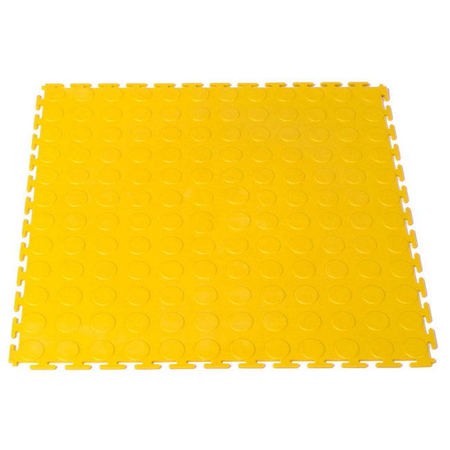 Picture of Interlocking PVC Floor Tiles - Raised Medallion - 50 x 50 x 0.4 cm - Yellow - (MOQ 200) - 5300CEA-yellow