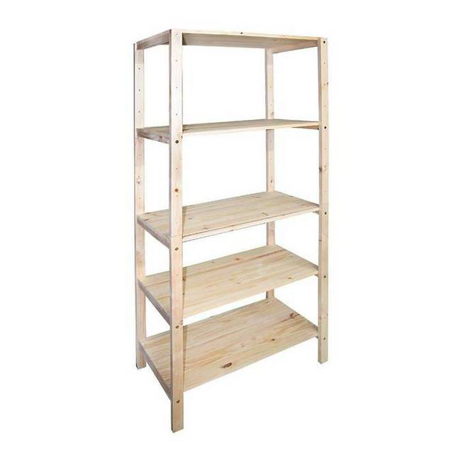 Picture of Wooden Shelving - 5 Tier - Medium Duty - Pine Wood Frame and Shelves - 180 x 120 x 60 cm - ADIY3906