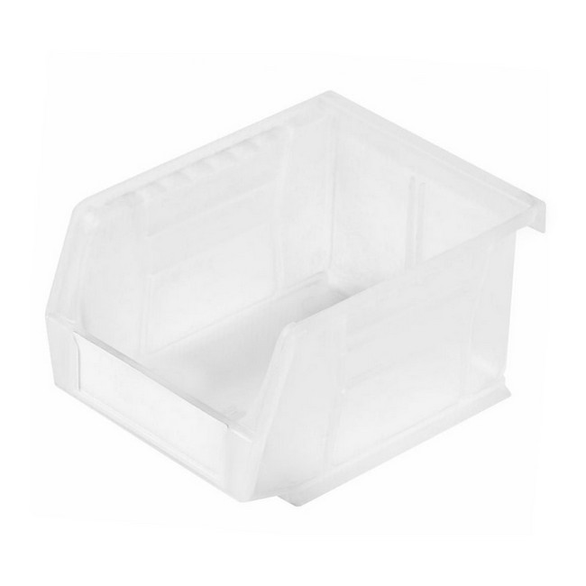 Picture of Panel Bin - Plastic Small Parts Container - Size 2 - 13.5 x 10.5 x 7.5 cm - Clear - BIN-2-CLEAR