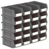 Picture of Panel Bin - Plastic Small Parts Container - Size 3 - 19 x 10.5 x 7.5 cm - Grey - BIN-3-GREY