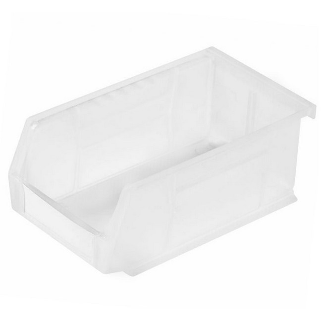 Picture of Panel Bin - Plastic Small Parts Container - Size 3 - 19 x 10.5 x 7.5 cm - Clear - BIN-3-CLEAR