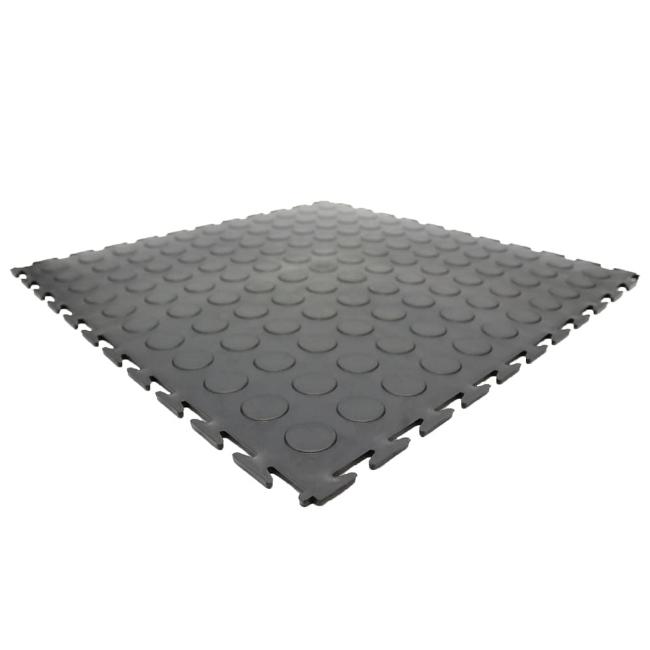 Picture of Kwiklok Interlocking PVC Floor Tiles - Recycled - 46.5 x 46.5 x 0.6 cm - Black - Pack of 4 - RUBKL64