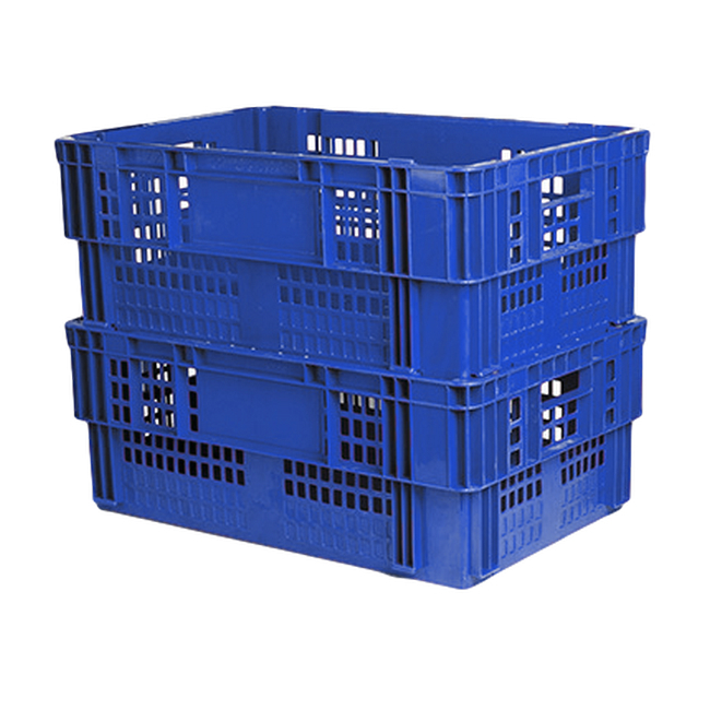 Picture of Nesting Meat Agricultural Crate - Plastic Box - Semi-vented Base and Vented Sides - 60 x 40 x 24 cm - Virgin Material - HACCP - PI-720B-virgin