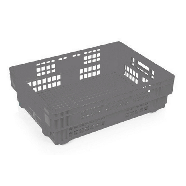 Picture of Heavy Duty Freezer Nesting Crate - Plastic Box - Vented Base and Sides - 62.5 x 45 x 17 cm - Recycled Material - Grey - PI-730-grey