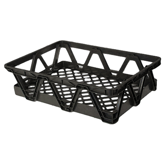 Picture of Light Duty Freezer Nesting Crate - Plastic Box - Vented Base and Sides - 65.5 x 46 x 17 cm - Recycled Material - Black - PI-730L-black