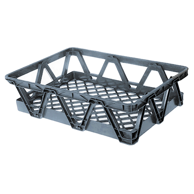 Picture of Light Duty Freezer Nesting Crate - Plastic Box - Vented Base and Sides - 65.5 x 46 x 17 cm - Recycled Material - Grey - PI-730L-grey